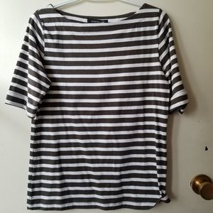 Jones New York Black and White Striped Top